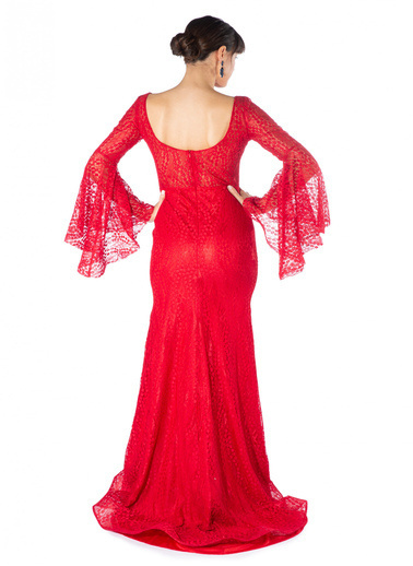 Pierre Cardin Kolları Volanlı Dantelli Balık Abiye Elbise Kırmızı